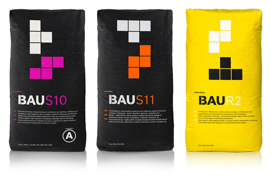 Packaging with bold tetrimino detail created by Mousegraphics for Bau Building Materials