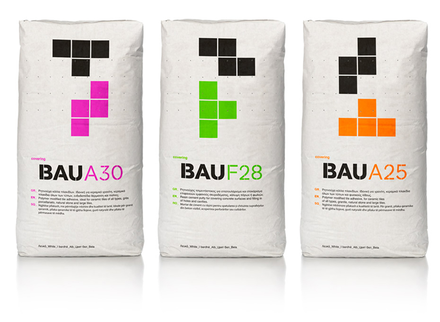Packaging with bold fluorescent tetrimino detail created by Mousegraphics for Bau Building Materials