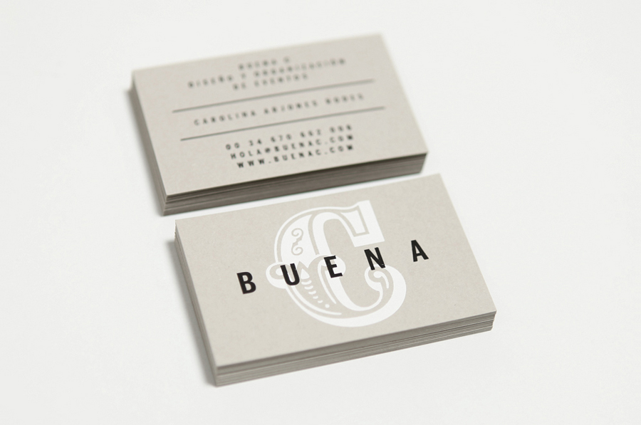 Logo and hand stamped business cards designed by Tres Tipos Gráficos for Spanish event planning business Buena C