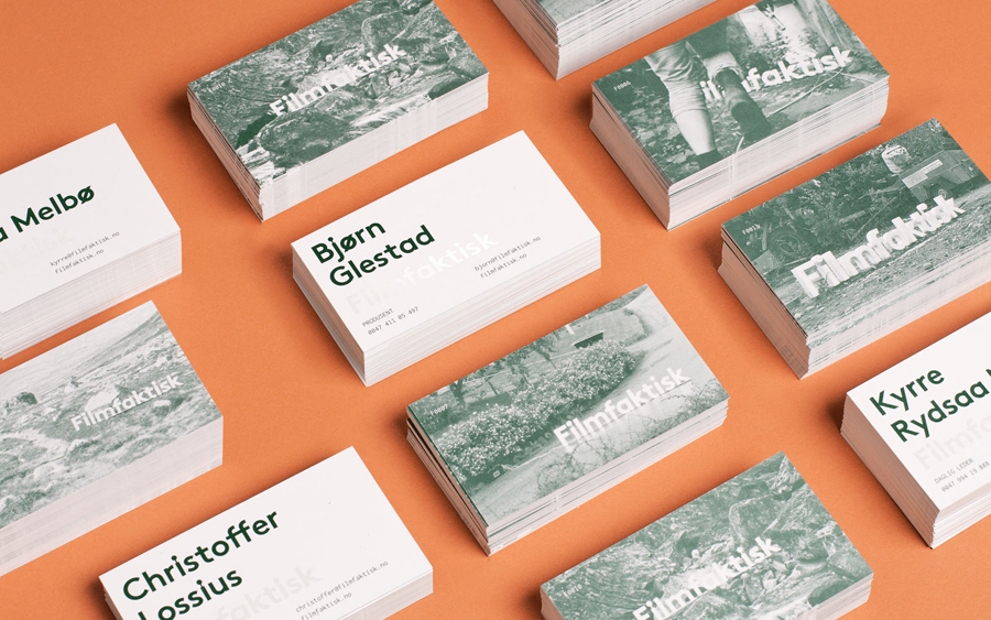 Logo and business cards for Norwegian location-focused filmmakers Filmfaktisk designed by Heydays