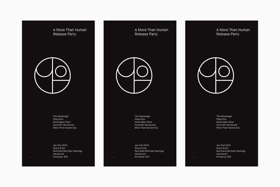 Posters for Canadian record label More Than Human designed by Bedow