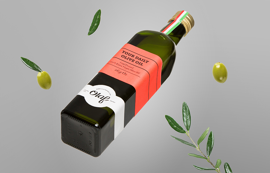 Packaging for Olaf Olive Oil designed by Anagrama