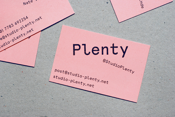 Logo design and pink board business card designed by Ah Studio for London-based web development studio Plenty