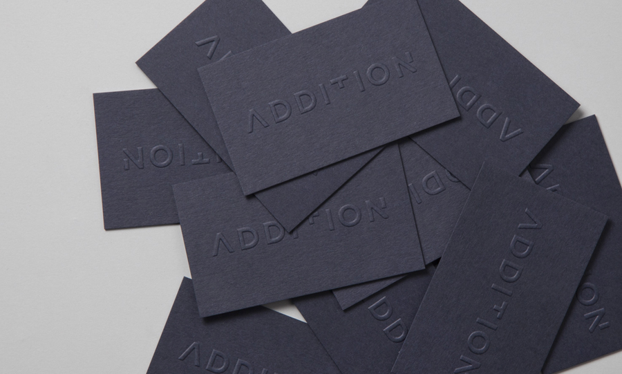Logotype and embossed business card design by Thought Assembly for Addition