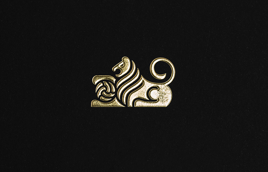 Logo as an embossed gold foil detail by Anagrama for football scout and transfer business Anthem