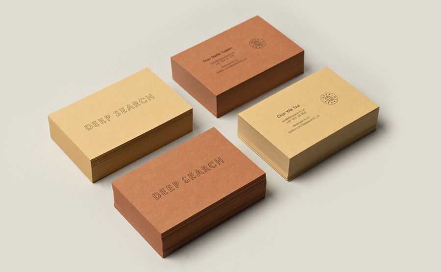 Logotype and business cards with uncoated and unbleached material detail created by Christian Bielke for Norwegian shoe brand Deep Search
