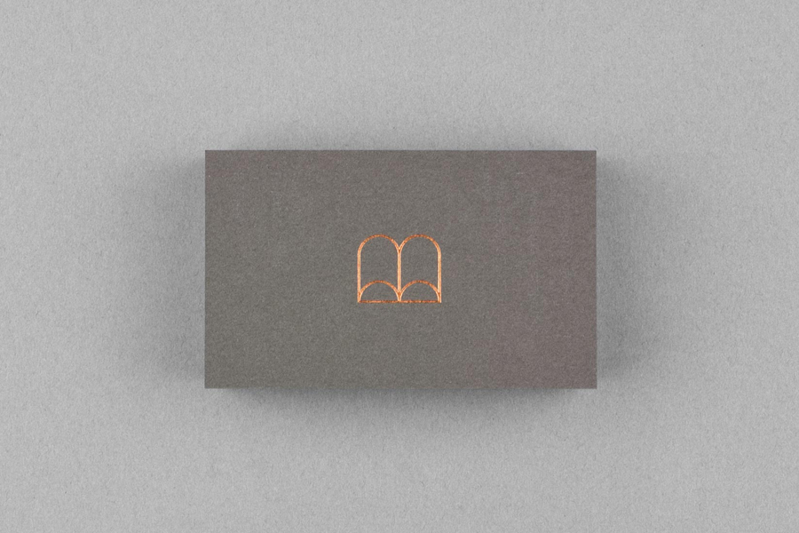 Logo and business card with a copper block foil detail for screenwriter Belinda Nowell's new publishing venture Boabel, designed by Maud