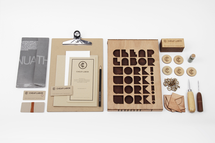 Logo and crafted wooden stationery designed by Sciencewerk for Cheap Labor