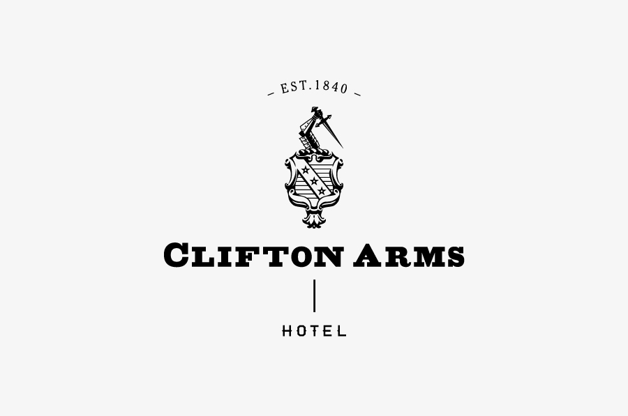 Logo, menus and stationery with copper spot and foil print treatments and emboss detail designed by Wash for the Clifton Arms Hotel.