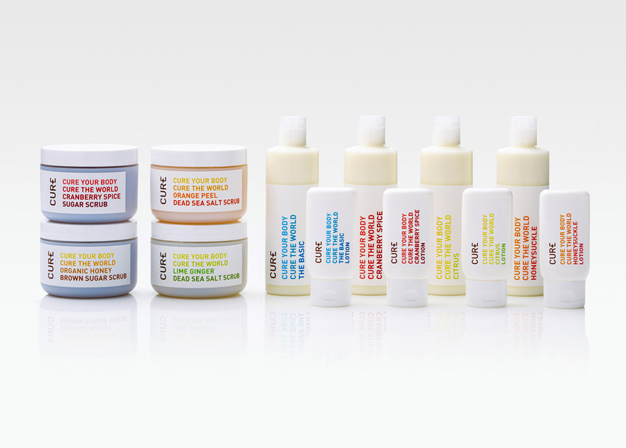 Packaging and branding by Mucho for Californian based handcrafted body care company Cure
