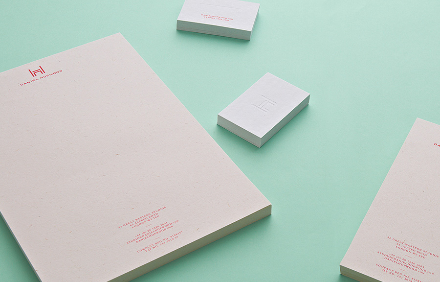Logo and deboss stationery design by Two Times Elliott for Daniel Hopwood