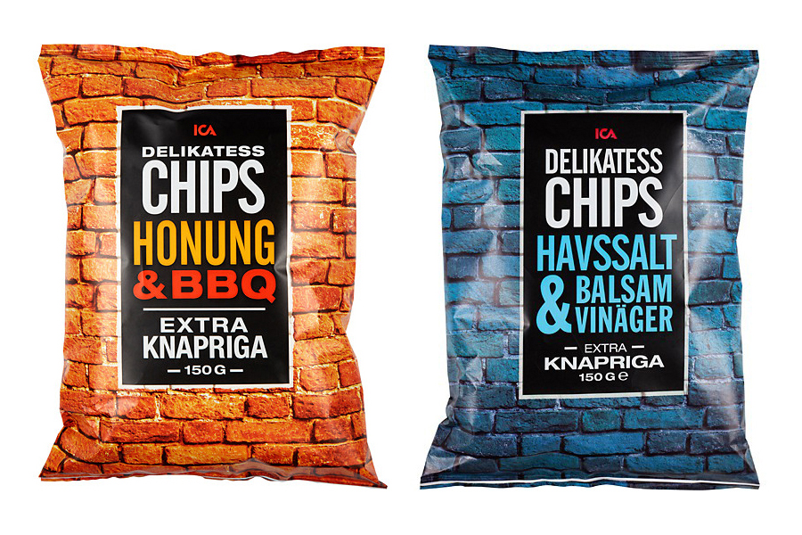 Packaging with tinted brick wall photographic detail designed by Silver for Swedish retailer ICA's new four flavour snack range Delikatess Chips