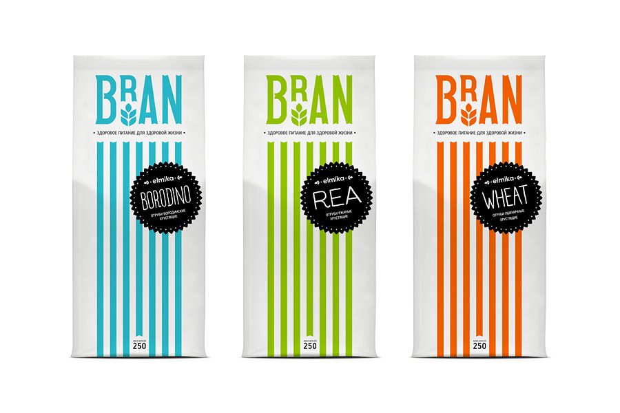 Packaging design by Hattomonkey for Elmika's range of Bran and Crisp wheat products