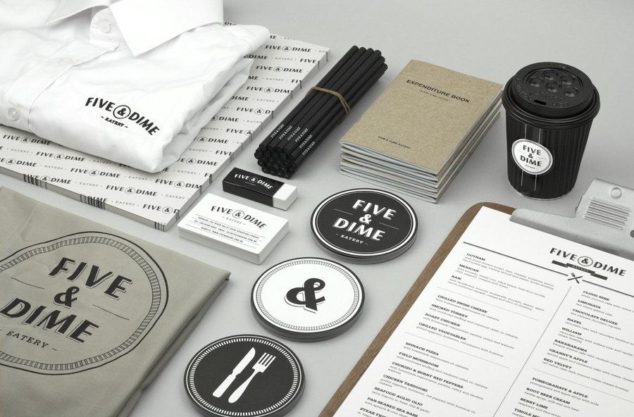Logo design and print by Bravo Company for Singapore cafe and restaurant Five & Dime