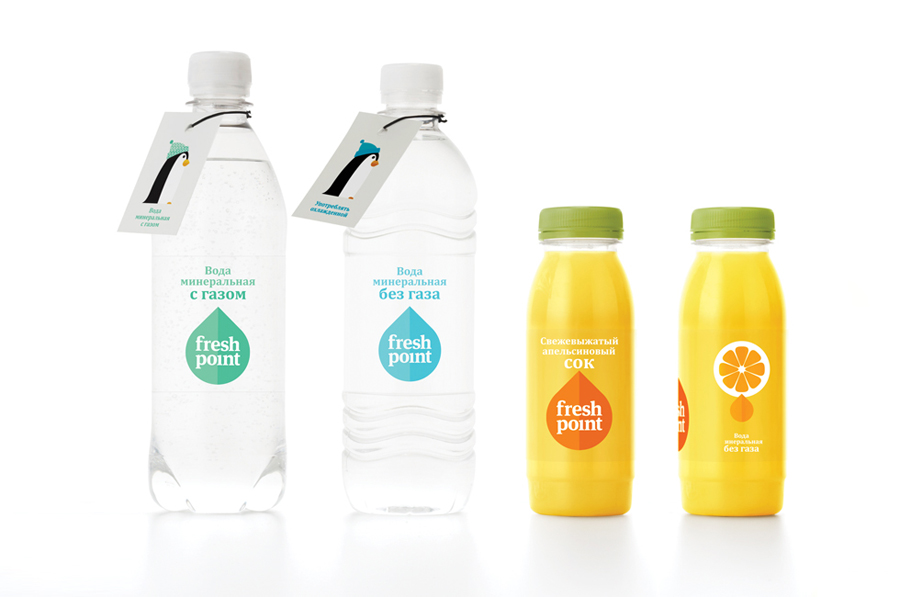 Logo and water packaging created by Designers Anonymous for Russian fast food cafe Fresh Point.