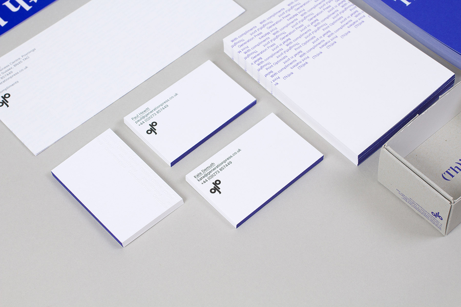 Stationery with blue edge painted detail for print production company Generation Press designed by Build
