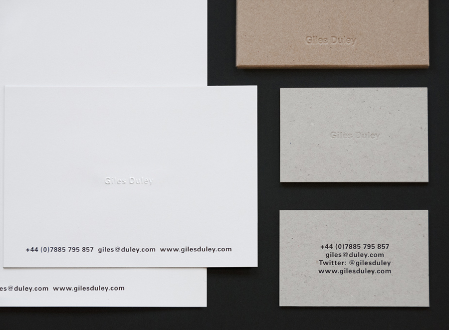Stationery with blind emboss detail and uncoated boards for photographer Giles Duley designed by Shaz Madani