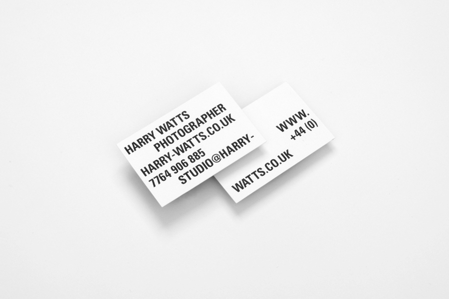 Business card designed by Birch for British photographer Harry Watts