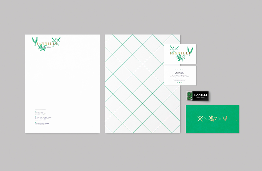 Logo and stationery with green ink stamp detail for Monterrey-based traditional Italian restaurant Iannilli designed by Savvy