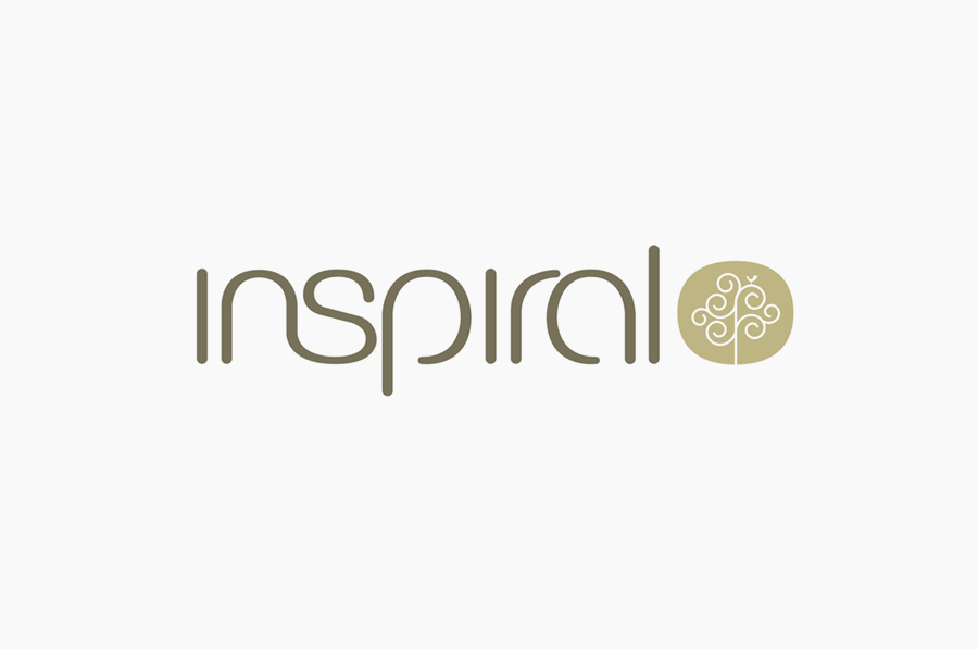 Logo and sans-serif logotype designed by Stduio h for organic raw food company Inspiral