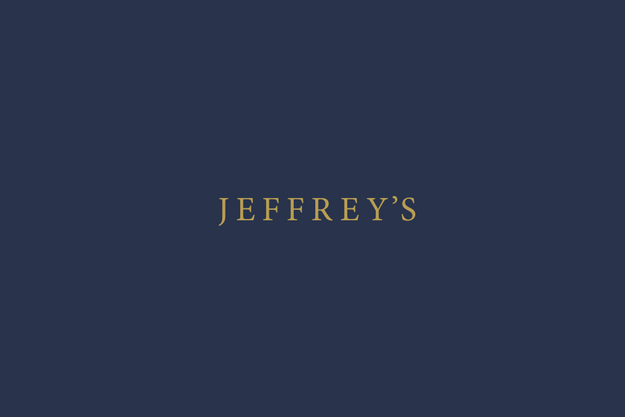 Uppercase serif logotype designed by FÖDA Studio for Clarksville fine dining restaurant Jeffrey's.