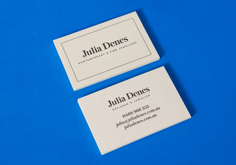 Logo and letterpress business card for contemporary handmade jewellery designer Julia Denes by Studio Sammut