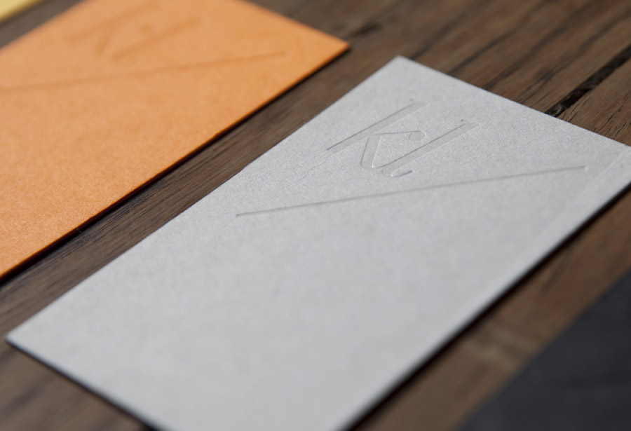 Logo and business card with coloured board choice and blind deboss detail designed by Teacake for fashion, music and editorial photographer Karina Lax