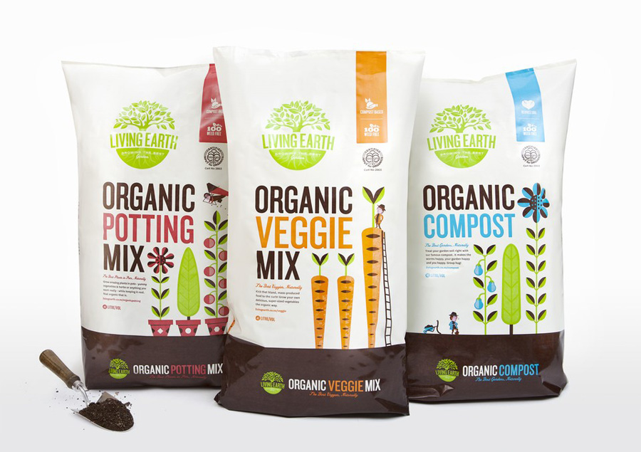 Packaging and illustration by Marx Design for organic compost Living Earth