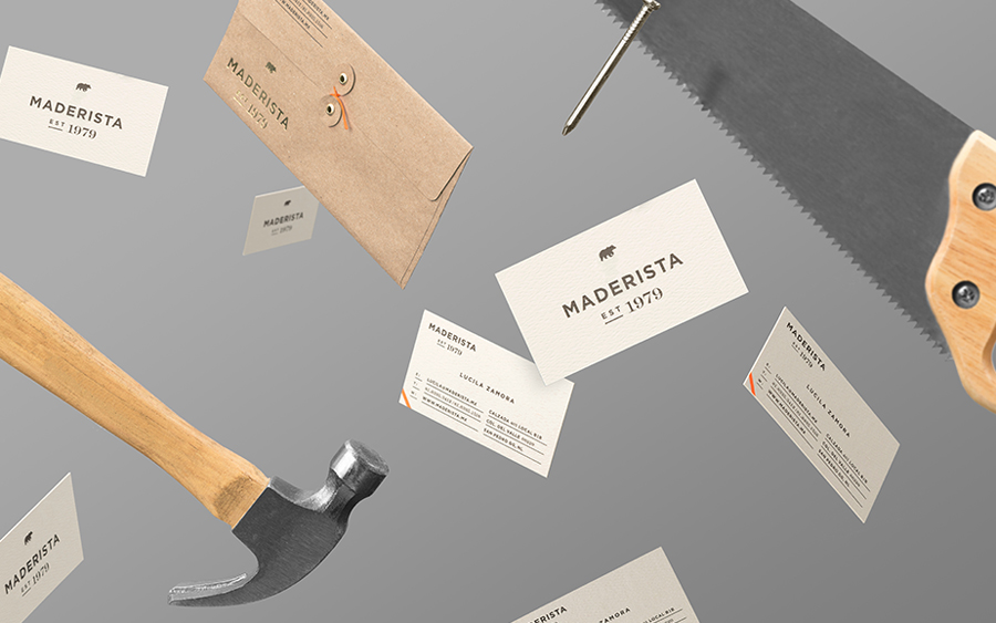 Logo and stationery with gold foil detail designed by Anagrama for San Pedro-based carpentry studio Maderista