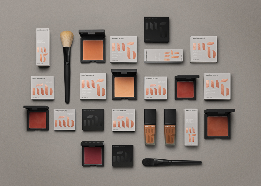 Logo and packaging with copper foil detail designed by We Are Bold for Swedish cosmetics brand Maréna Beauté
