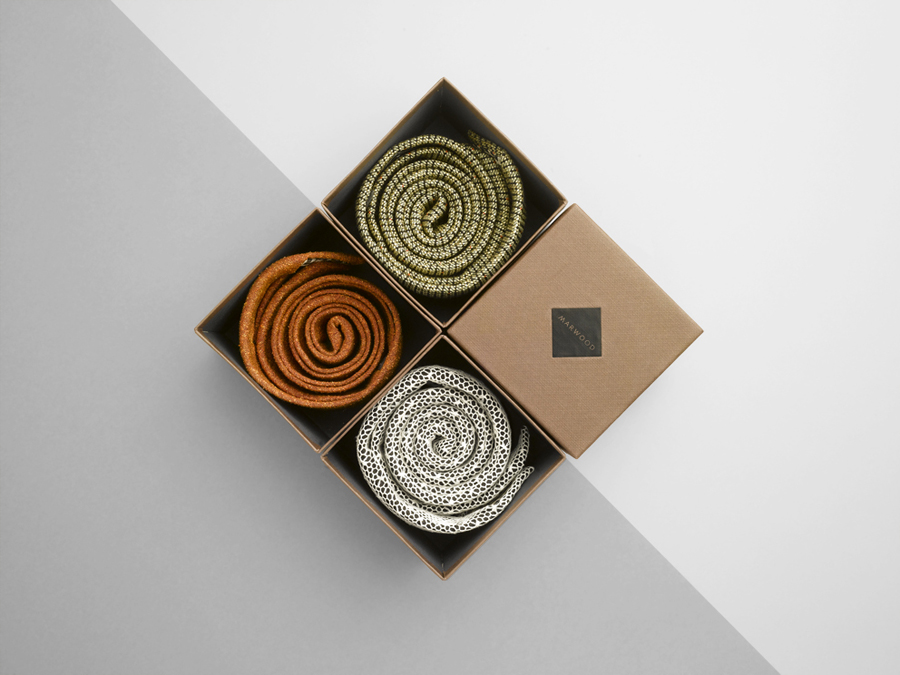 Logo and box design with linen embossed texture by Everything In Between for London-based tie and neckwear brand Marwood