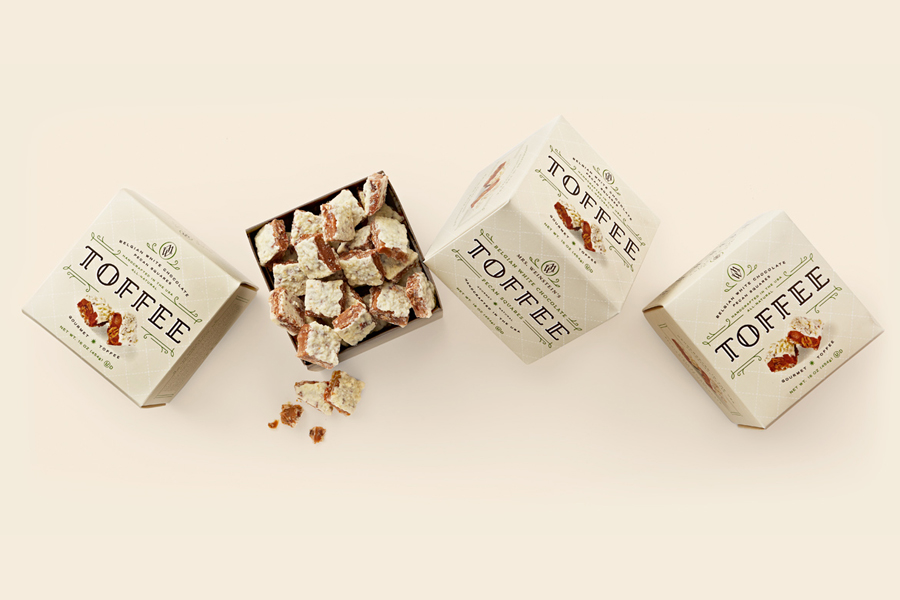 Packaging created by Studio MPLS for Mrs. Weinstein's toffee packaging