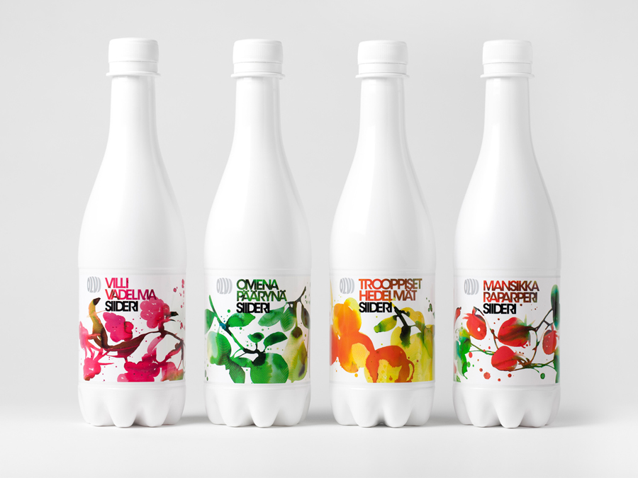 Cider packaging design and watercolor illustration by Bond