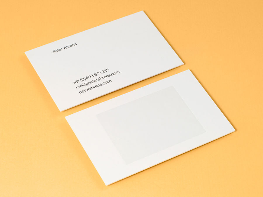 Logo and letterpress business cards for photographer Peter Ahrens by Studio Jubilee