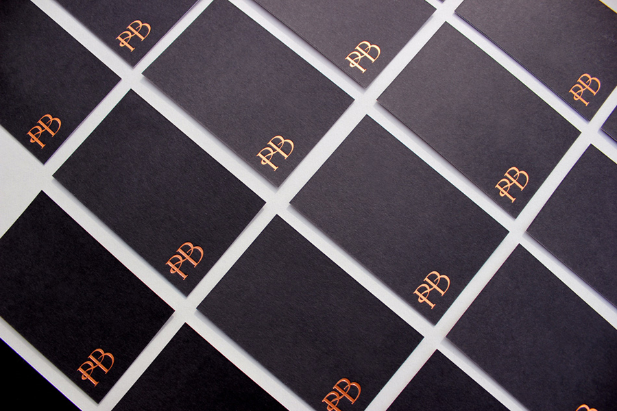 Logo and business card with copper foil detail designed by Stylo for jewellers Phillip Boulding