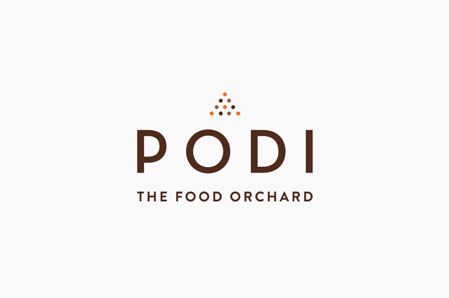 Sans-serif logotype designed by Bravo Company for Singapore-based organic restaurant Podi