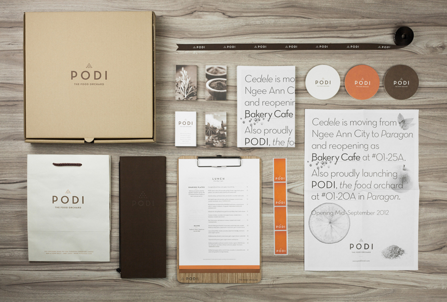 Logotype, menus, coasters, stickers and stationery designed by Bravo Company for Singapore-based organic restaurant Podi