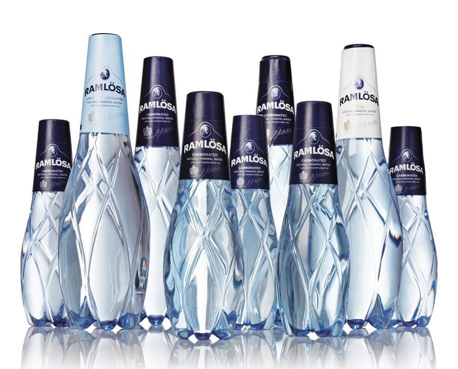 Packaging with a cut glass-like plastic structural design created by Nine for premium restaurant mineral water Ramlösa