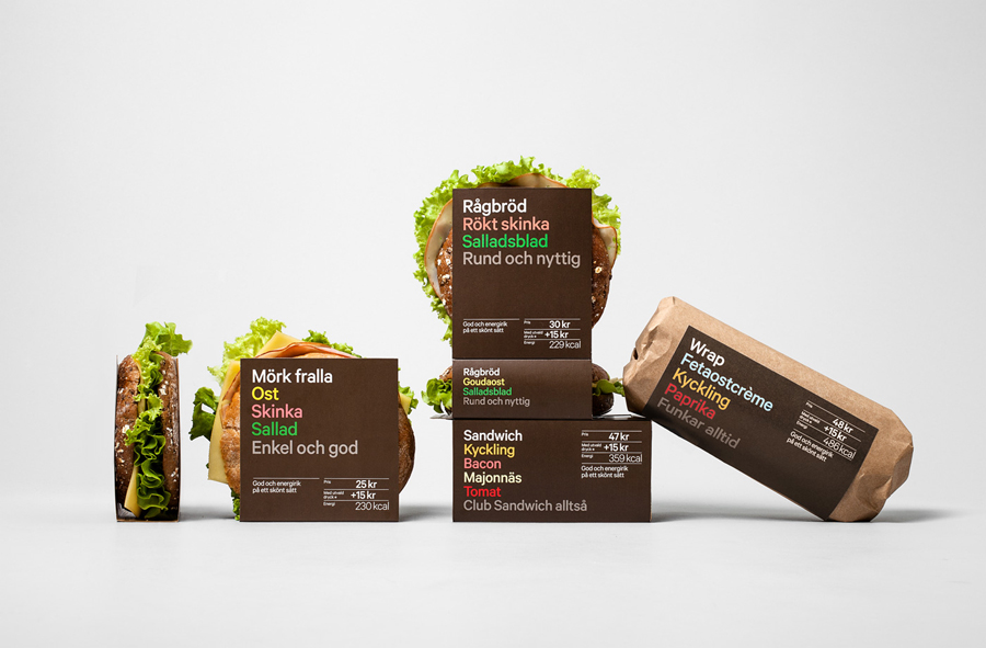 Sandwich, salad and wrap packaging designed by BVD for 7-Eleven Sweden