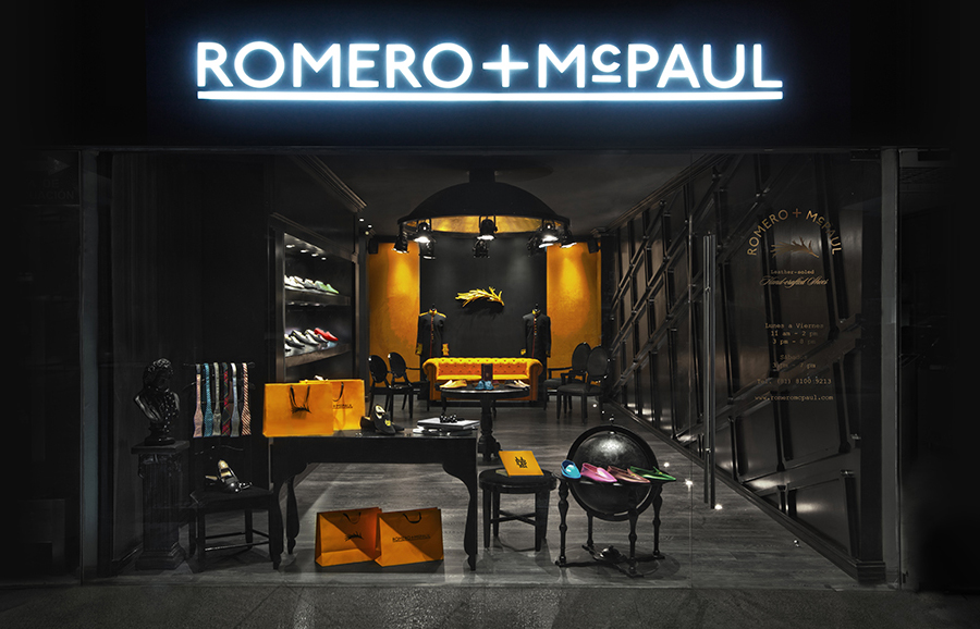 Exterior signage designed by Anagrama for luxury slipper brand Romero+McPaul