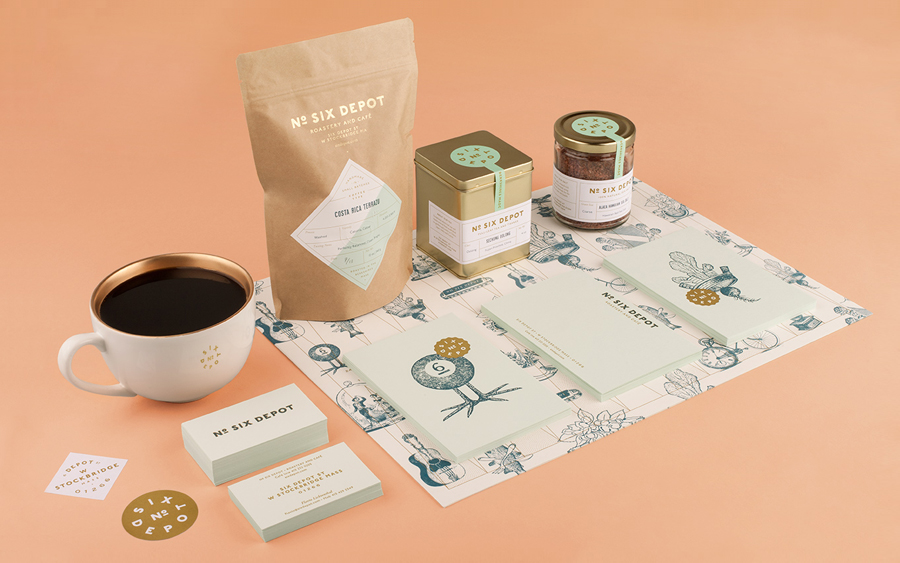 Packaging and stationery designed by Perky Bros for small-batch coffee roaster and café No. Six Depot