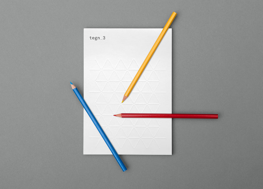 Logo and stationery design with embossed geometric pattern detail by Neue for Norwegian architecture studio Tegn_3