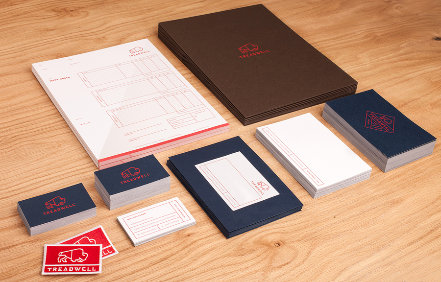 Logo and stationery designed by Perky Bros for floor specialist Treadwell