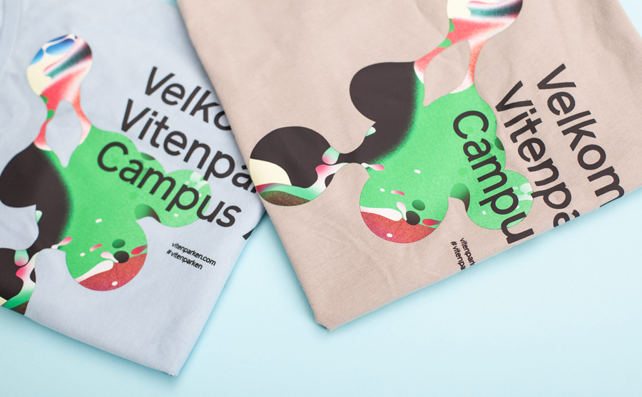 T-shirts created by Bielke+Yang featuring illustrative work by MVM for science centre Vitenparken