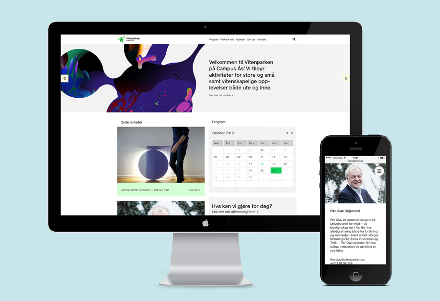 Website designed by Bielke+Yang featuring illustrative work by MVM for science centre Vitenparken