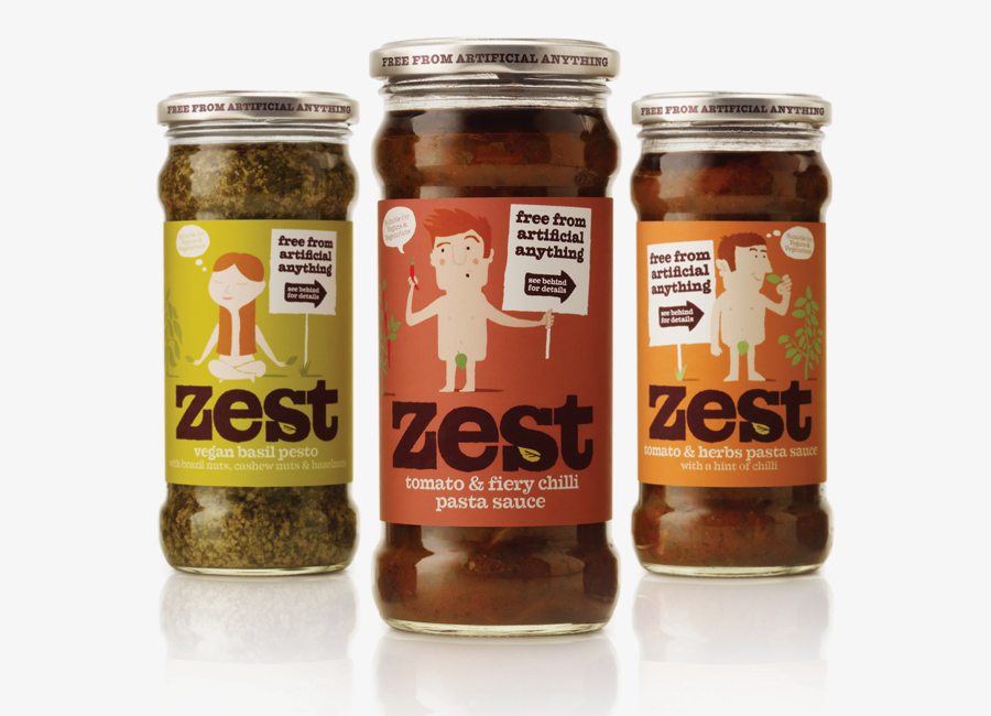 Packaging, illustration and logotype design for pasta sauce and pestos brand Zest by Designers Anonymous
