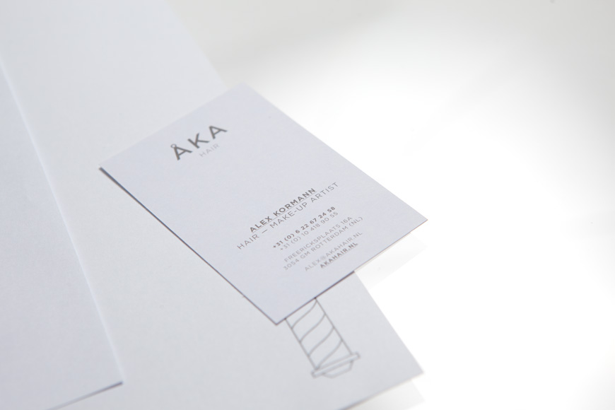 Logo and business card designed by DC for hair salon ÅKA