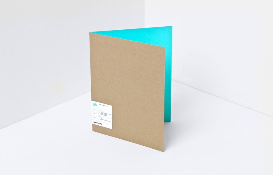 Unbleached folder with neon turquoise ink interior and white sticker for pesticide retailer and manufacturer Argromundo designed by Anagrama