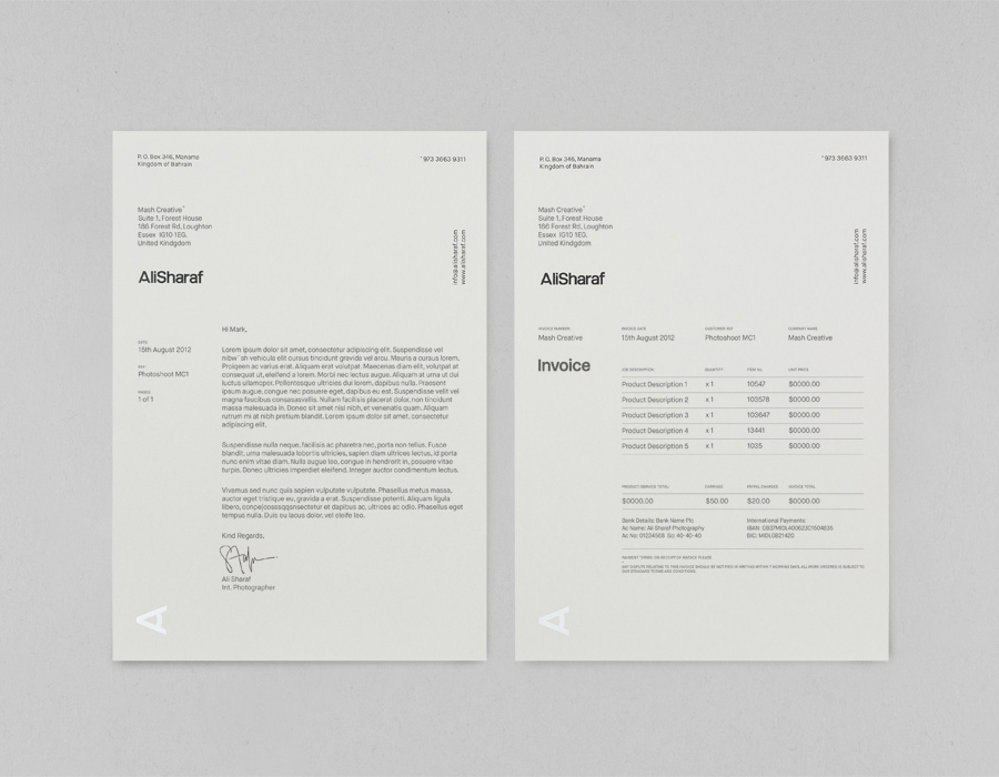 Logo and letterhead designed by Mash for photographer Ali Sharaf