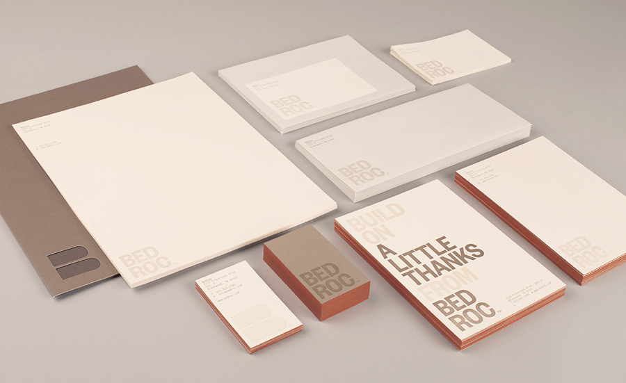 Logo, stationery and edge painted business card for technological consultancy firm Bed Roc designed by Perky Bros